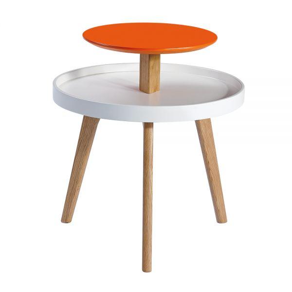 Beistelltisch Villads im skandinavischen Design, MDF weiss und rot-orange und massives Eichenholz
