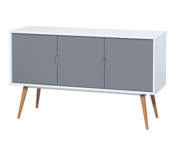 Cagusto Sideboard Lowboard Kommode Retro In Weiss Und Grau Cagusto
