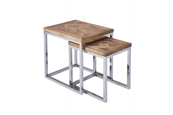 Kleiner Tisch Altholz.2er Set Beistelltisch Pure