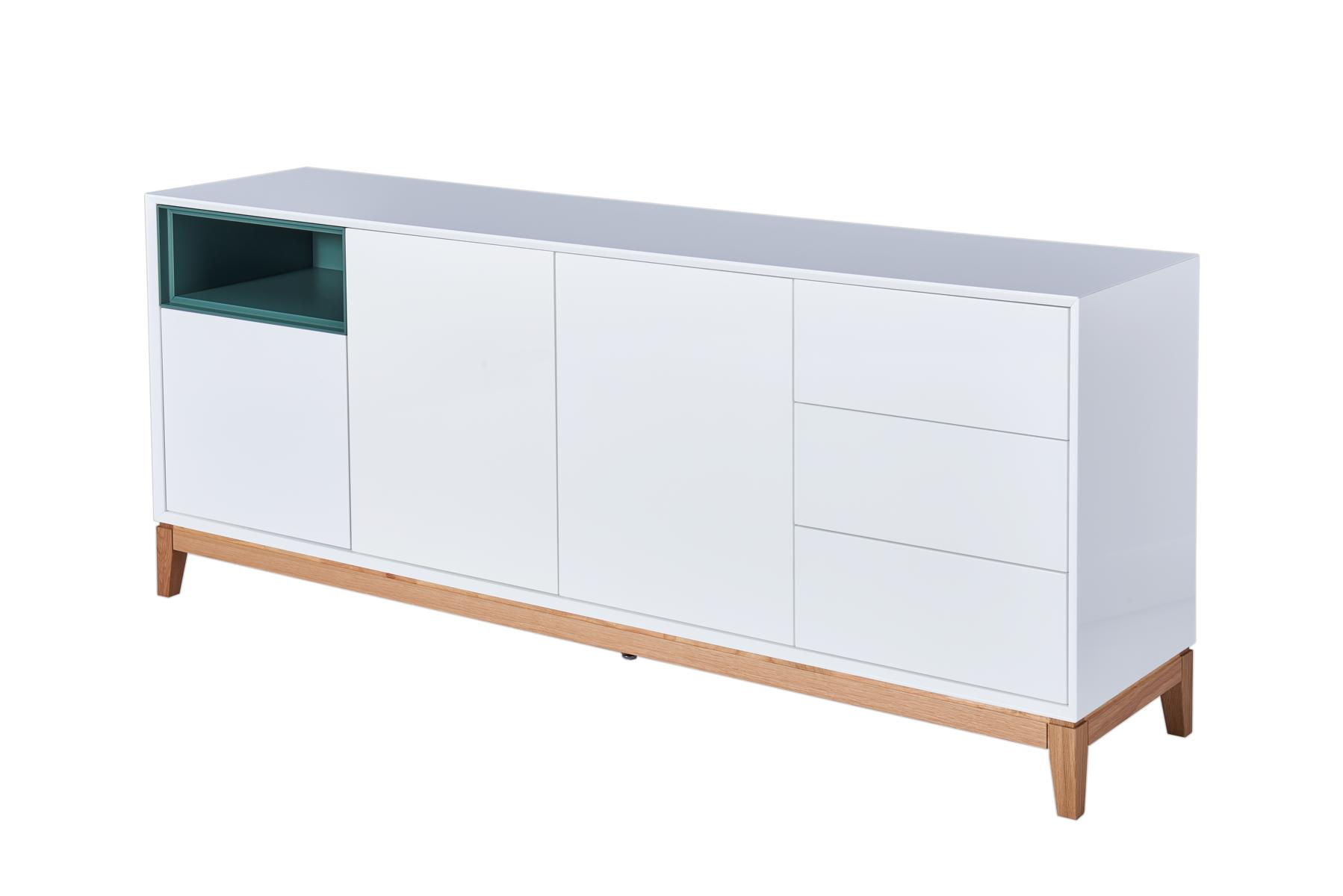 sideboard hegra kommode im skandinavischen design grau gr n wei hochglanz gestell aus eiche. Black Bedroom Furniture Sets. Home Design Ideas