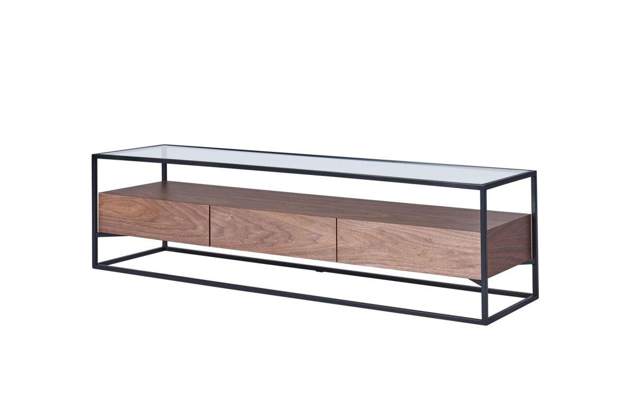 TV-Lowboard CHICAGO Walnuss Holz Metall Rahmen Glas Ablage | CAGUSTO ...