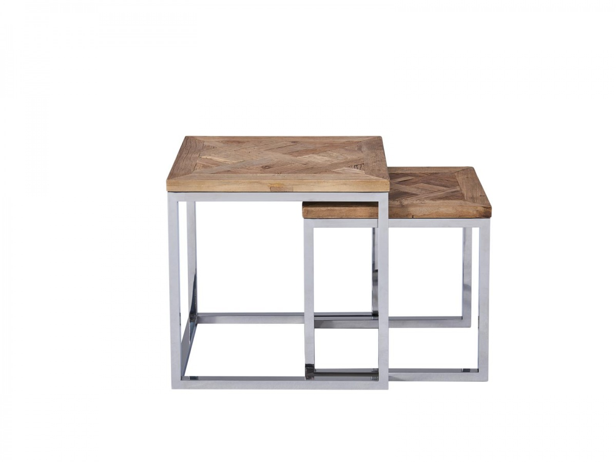Beistelltisch Pure 2er Set Edelstahl Recycling Holz Massiv Design