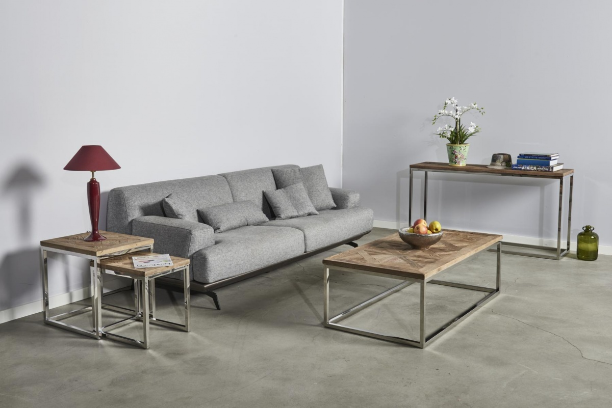 CAGUSTO Design Couchtisch PURE Edelstahl Massivholz Metall