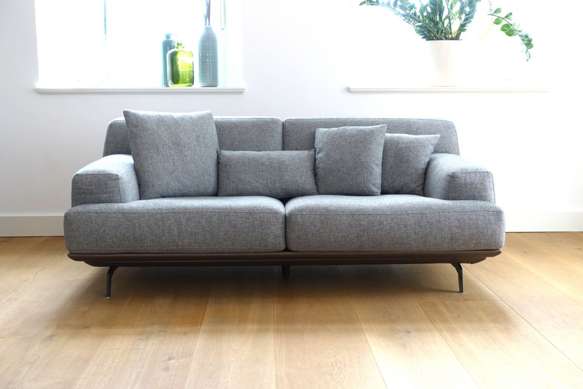 cagusto sofa lendum grau stoff 2 sitzer couch design inkl kissen webstoff edel ebay. Black Bedroom Furniture Sets. Home Design Ideas