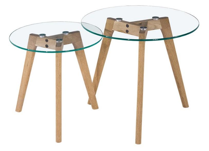 Beistelltisch Holz Und Glas ~ CAGUSTO Beistelltisch Mikkel 2er Set rund Glas Eiche Holz Design
