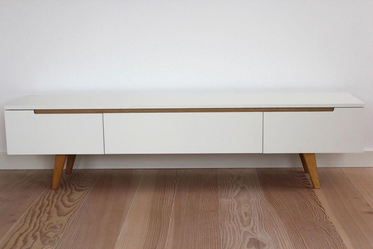 cagusto tv schrank lowboard sideboard fernsehtisch linsell wei eiche modern ebay. Black Bedroom Furniture Sets. Home Design Ideas