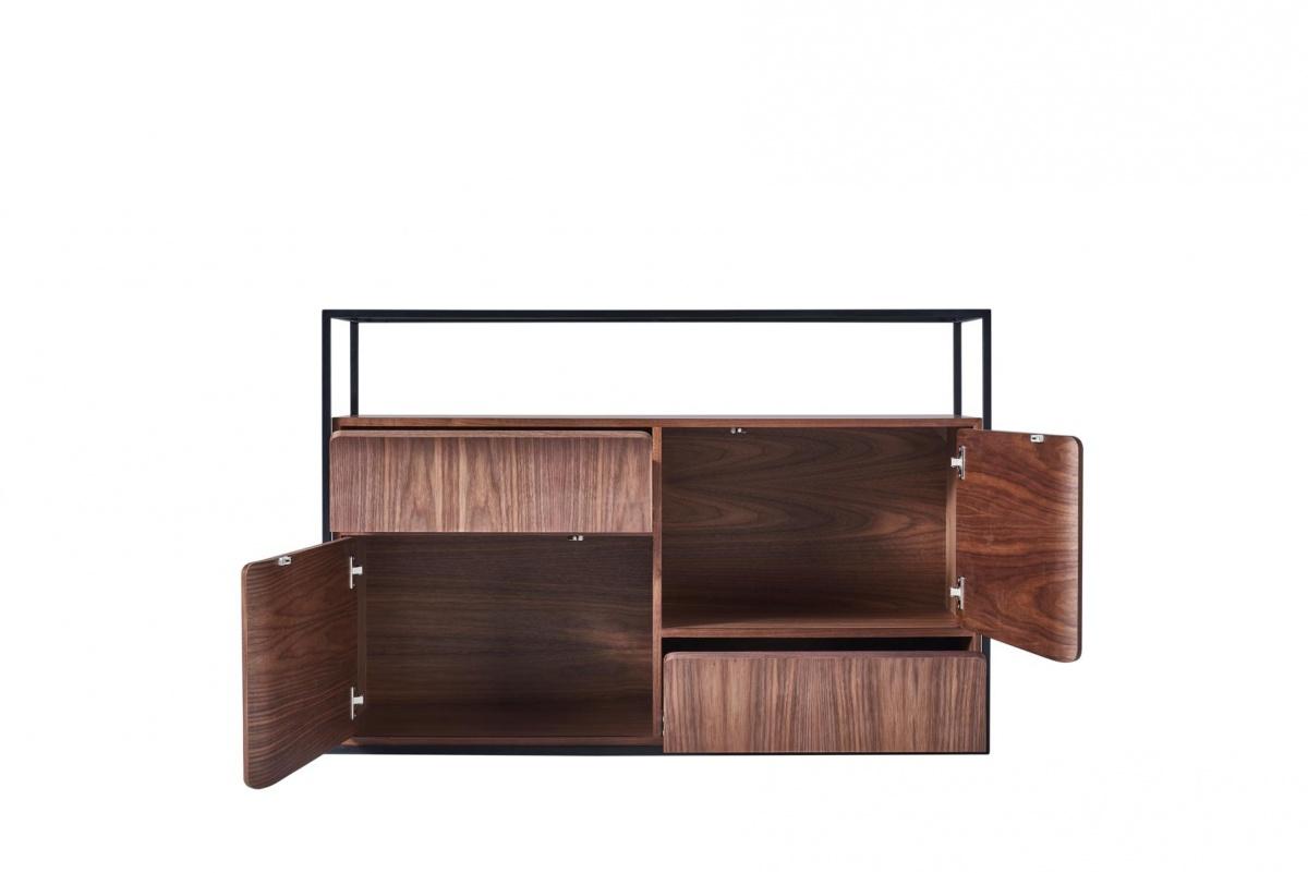 cagusto sideboard chicago 120 x 40 x 80 in walnuss echtholzfurnier mit schwarz ebay. Black Bedroom Furniture Sets. Home Design Ideas