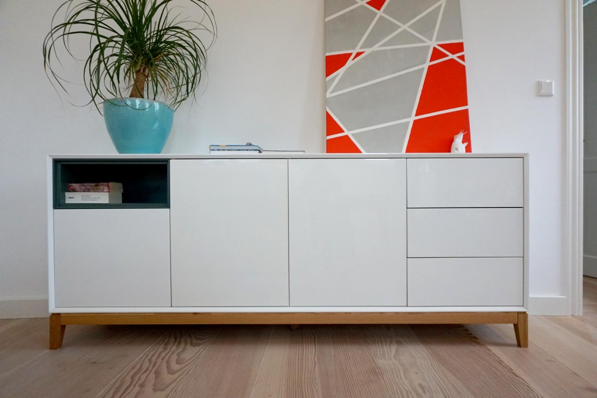 sideboard hegra design kommode schrank wei hochglanz holz hochwertig anrichte ebay. Black Bedroom Furniture Sets. Home Design Ideas