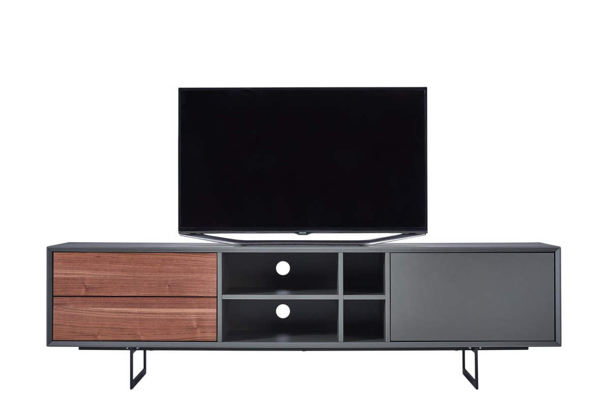 cagusto tv lowboard borgund tv schrank 180x42x50 nussbaum grau inkl montage ebay. Black Bedroom Furniture Sets. Home Design Ideas