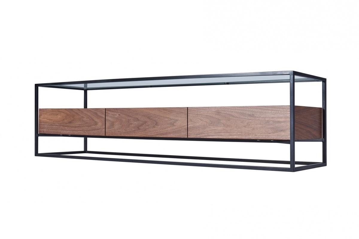cagusto tv lowboard tv schrank chicago 150x40x40 nussbaum holz metall glas ebay. Black Bedroom Furniture Sets. Home Design Ideas